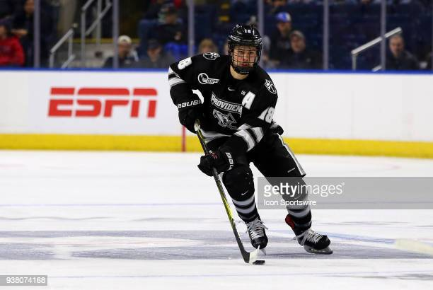 Providence Friars defenseman Jacob Bryson during a NCAA hockey game between Providence Friars and Notre Dame Fighting Irish on March 24 at Webster...