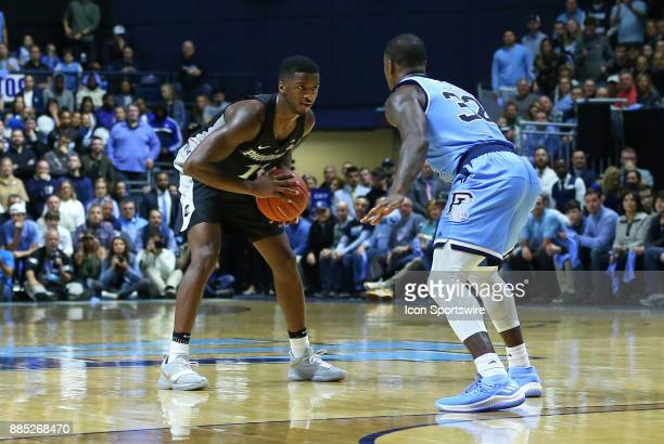 Providence Friars guard Alpha Diallo defended by Rhode Island Rams guard Jared Terrell during a college basketball game between Providence Friars and...