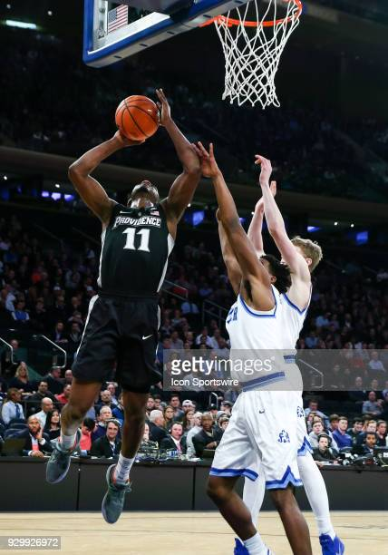 Providence Friars guard Alpha Diallo is fouled during the first half of the Mens College Basketball Big East Tournament Semifinal Game betweenthe...