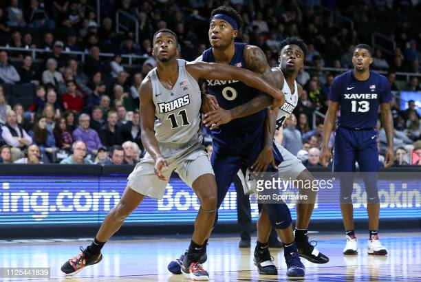 Providence Friars guard Alpha Diallo Xavier Musketeers forward Tyrique Jones and Providence Friars guard Maliek White in action during a college...