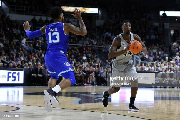 Providence Friars guard Isaiah Jackson and Seton Hall Pirates guard Myles Powell during a college basketball game between Seton Hall Pirates and...