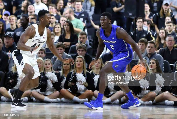 Providence Friars guard Isaiah Jackson defends Creighton Bluejays guard Khyri Thomas during a college basketball game between Creighton Bluejays and...