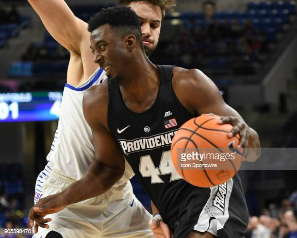 Providence Friars guard Isaiah Jackson drives towards the basket during a game between the DePaul Blue Demons and the Providence Friars on January 12...