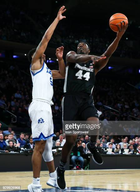 Providence Friars guard Isaiah Jackson misses a hook shot during the Mens College Basketball Big East Tournament Semifinal Game betweenthe...