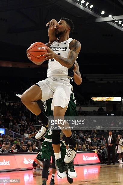 Providence Friars guard Jalen Lindsey is fouled while driving to the basket during the first half of an NCAA basketball game between the Wagner...