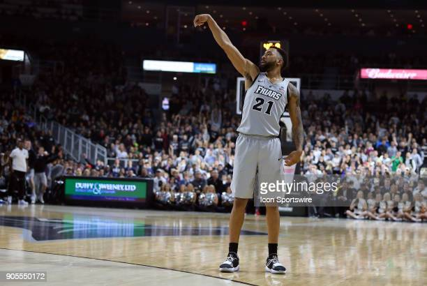 Providence Friars guard Jalen Lindsey poses after shooting a three point shot during a college basketball game between Butler Bulldogs and Providence...