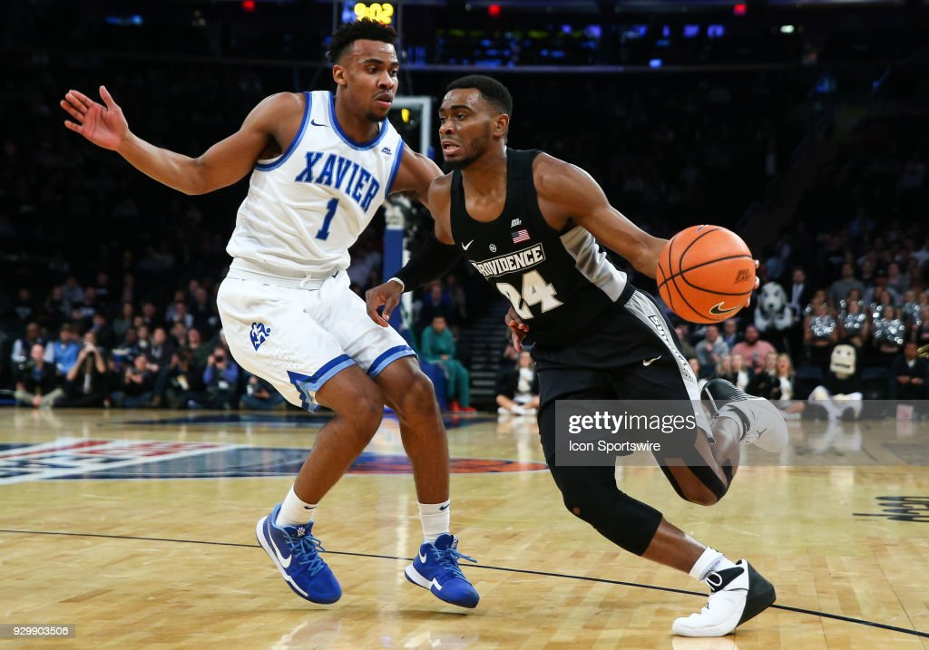 Providence Friars guard Kyron Cartwright (24) drives with the ball during the first half of the Mens College Basketball Big East Tournament Semifinal Game between the Providence Friars and the Xavier Musketeers on March 9, 2018 at Madison Square Garden in New York, NY.