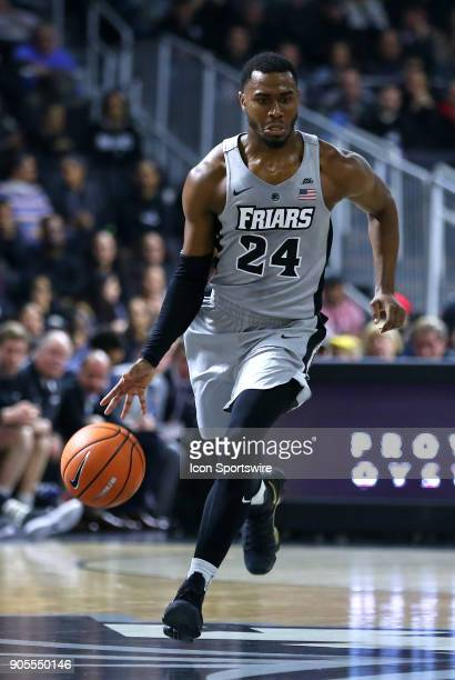 Providence Friars guard Kyron Cartwright fast breaks during a college basketball game between Butler Bulldogs and Providence Friars on January 15 at...