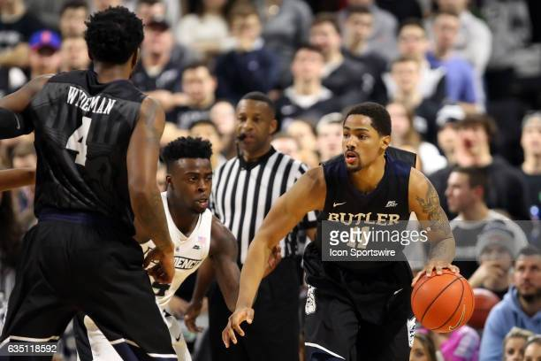 Providence Friars guard Maliek White defends Butler Bulldogs guard Kethan Savage during the first half of a college basketball game between Butler...