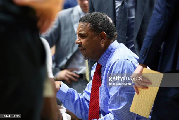 Providence Friars head coach Ed Cooley speaks with his team during a timeout during the college basketball game between South Carolina Gamecocks and...
