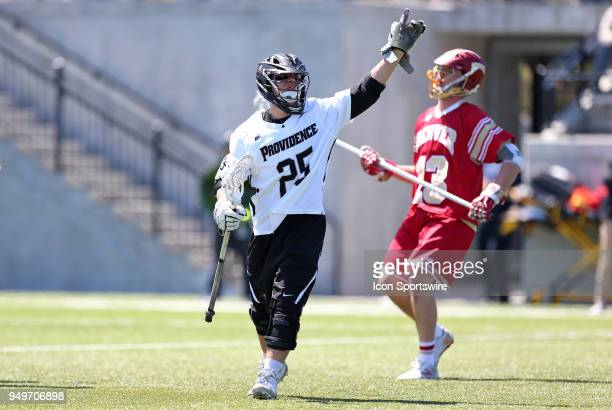 Providence Friars midfielder Nick Hatzipetrakos celebrates a goal during a college lacrosse match between Denver Pioneers and Providence Friars on...
