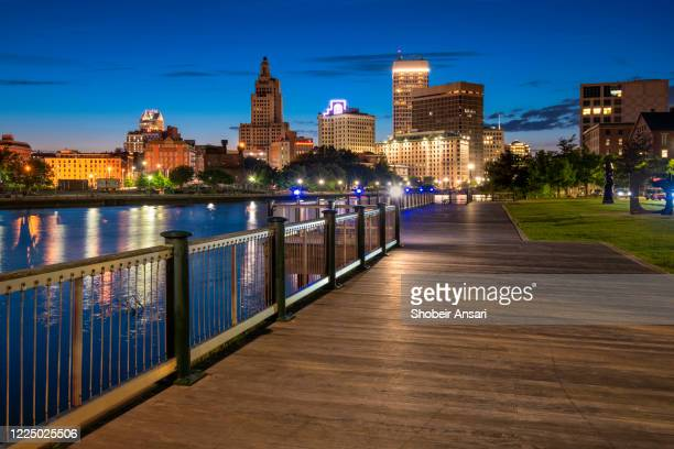 providence skyline at night, rhode island - rhode island stock pictures, royalty-free photos & images
