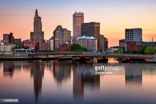 providence skyline at sunrise, rhode island - rhode island stock pictures, royalty-free photos & images