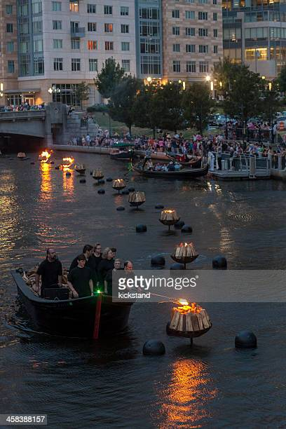 providence (ri) waterfire - providence rhode island stock photos and pictures