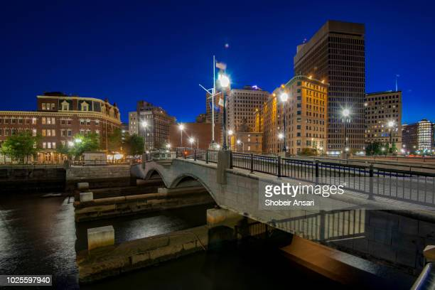 providence waterplace park at night, rhode island - rhode island stock pictures, royalty-free photos & images
