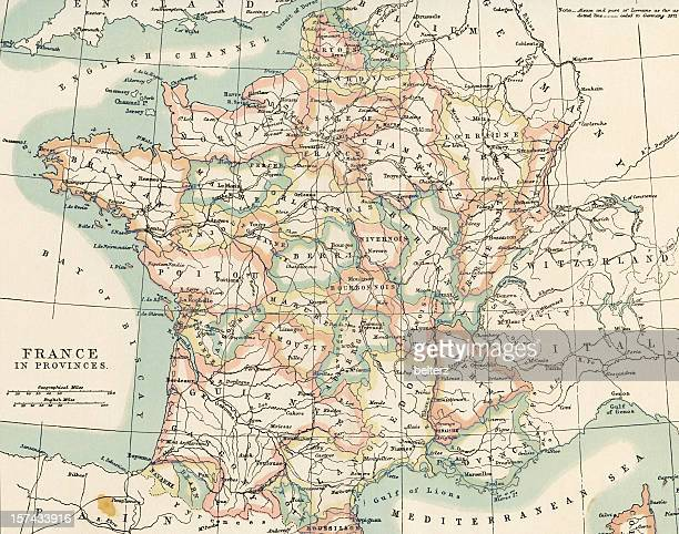 provinces of france on a vintage map - france stock pictures, royalty-free photos & images