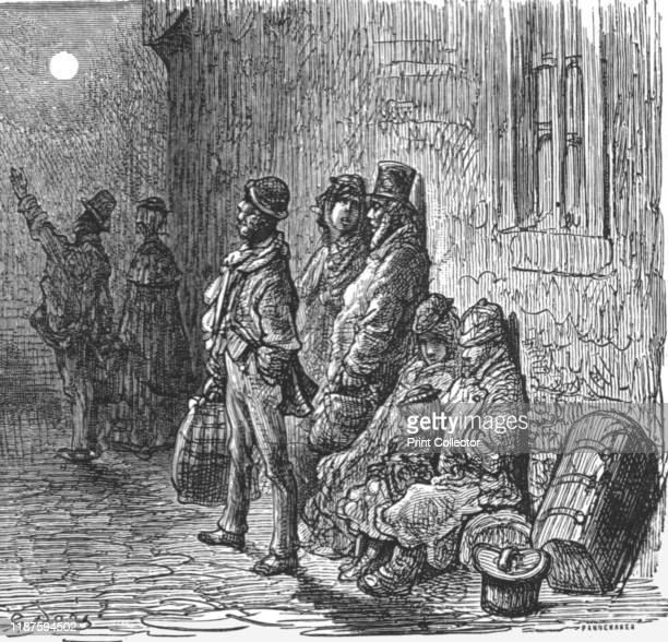 Provincials in Search of Lodgings' 1872 Homeless travellers unable to find lodgings in 19th century London From LONDON A Pilgrimage by Gustave Dore...