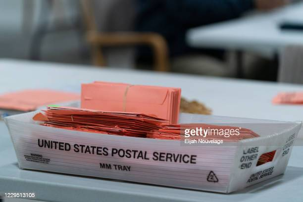 Provisional ballots are seen in a postal service tray at the Gwinnett County Board of Voter Registrations and Elections offices on November 7, 2020...
