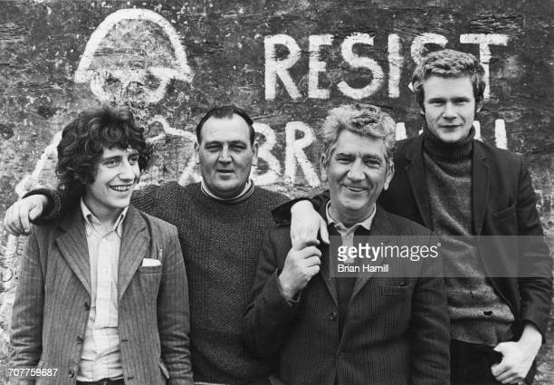 Provisional Irish Republican Army Officer in Charge of Derry Martin McGuinness and Adjutant OC Sean Keenan Jr pose with Phil O'Donnell and Sean Keen...