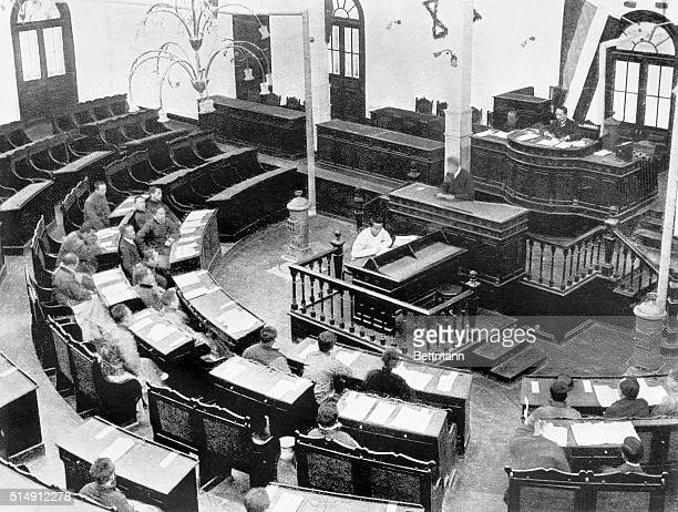 Provisional President Sun Yat-sen, founder of the Kuomintang, or National People's Party of China, presides over the first Chinese Parliament in 1912.