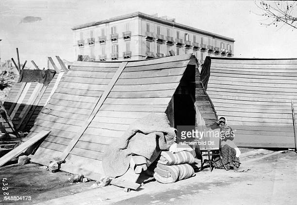 Provisional wooden shelters of local residents after the earthquake in Messina