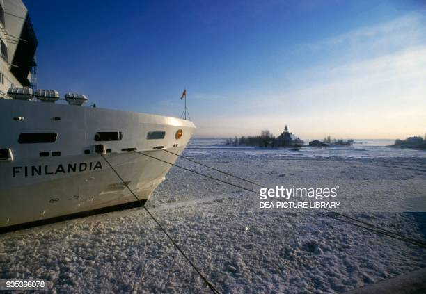 Prow of a ferry boat in the frozen Baltic sea Finland