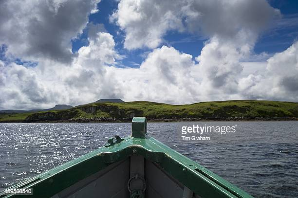 Prow of motor boat during boat trip on Dunvegan Loch the Isle of Skye Scotland