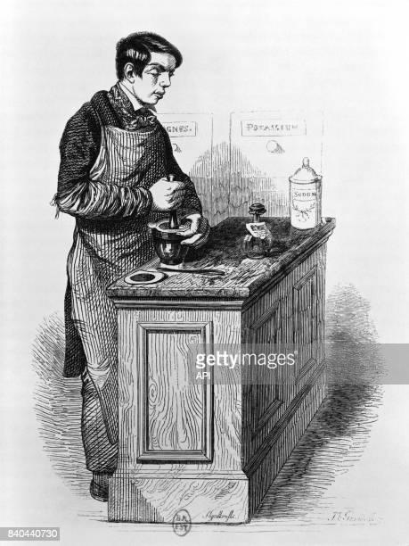 Préparateur de médicaments dans une pharmacie en France en 1840