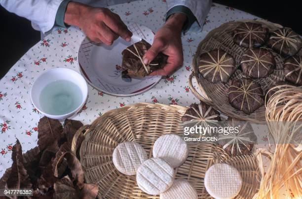 Préparation du fromage de Banon en Provence France
