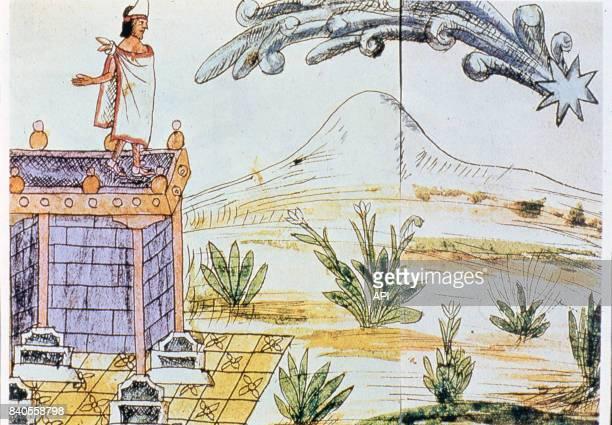 Présage de l'invasion des conquistadores espagnol à Moctezuma II lors du passage d'une comète illustration du codex Duran