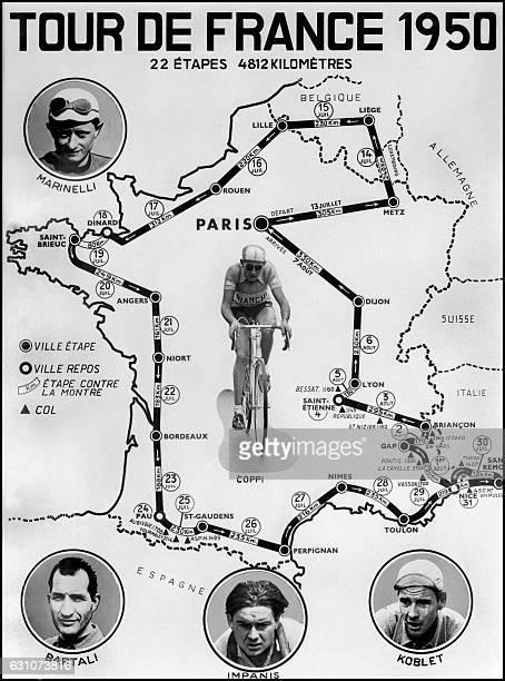 Présentation de la carte officielle du tracé du Tour de France Cycliste 1950 comprenant 22 étapes réparties sur un parcours total de 4812 kilomètres...