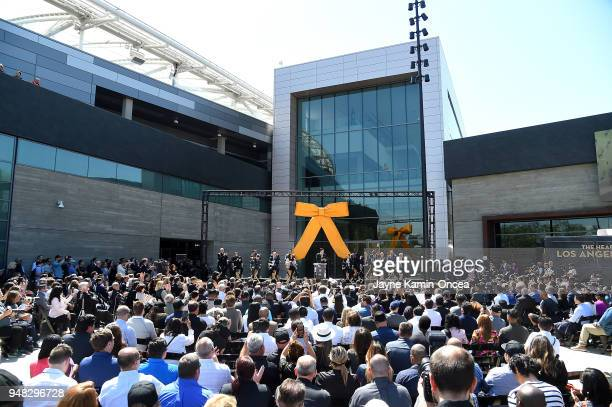 Prsident and coowner Tom Penn of the Los Angeles FC speaks at the podium during the ribbon cutting ceremony for the new Banc of California Stadium on...