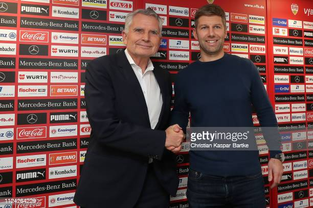 Präsident Wolfgang Dietrich of VfB Stuttgart and Managing Director Thomas Hitzelsberger of VfB Stuttgart looks on on February 12, 2019 in Stuttgart,...