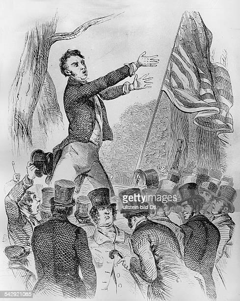 Präsidentschaftswahlen USA 1849Redner im WahlkampfNew York 1849Holzstich