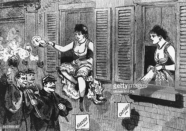 Präsidentschaftswahlen USA 1880 Zwei Prostituierte werben am Fenster für die Präsdidentschaftskandidaten James Garfield bzw HancockNew York...