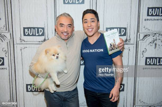 """Prsonality Cesar Millan with his dog Benson and son Andrew Milan discuss """"Dog Nation"""" with the Build Series at Build Studio on February 17, 2017 in..."""