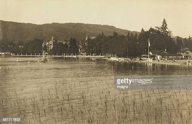Pörtschach am Wörthersee View from the lake to the Strandbad Establishment Hotel About 1930 Photograph