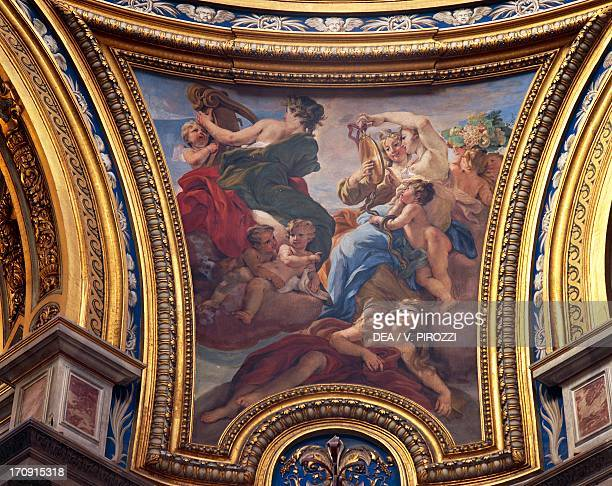 Prudence scene from the Four Cardinal Virtues cycle 16671671 by Giovanni Battista Gaulli fresco pendentive of the dome Sant'Agnese in Agone Rome...