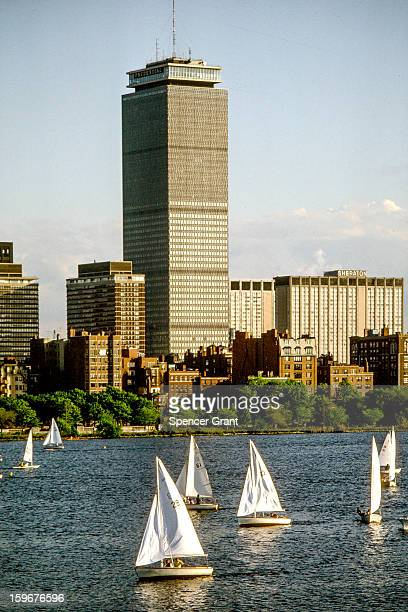 Prudential Buildings and sailboats on Charles River Basin Boston Massachusetts 1976