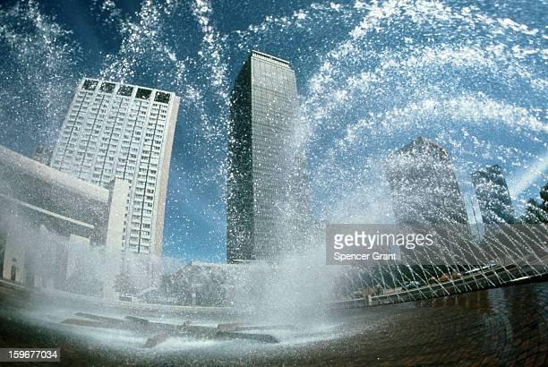 Prudential Tower and Sheraton Boston with fountain, Boston, Massachusetts, 1975.
