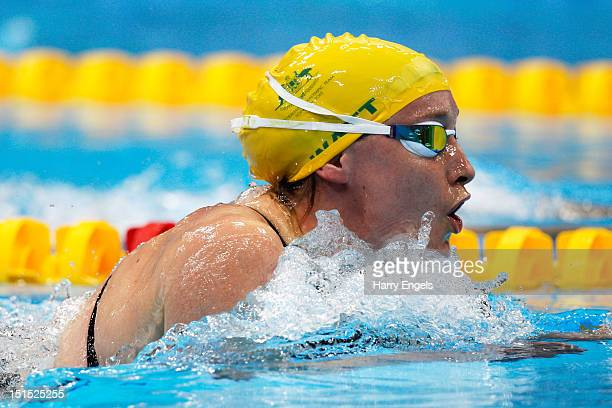 Prue Watt of Australia competes in the Women's 100m Breaststroke SB13 final on day 10 of the London 2012 Paralympic Games at Aquatics Centre on...