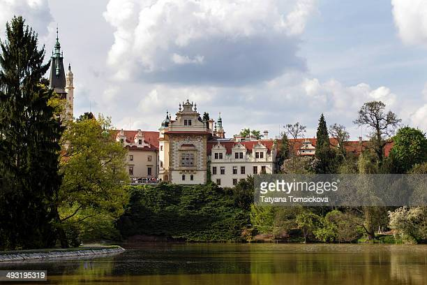 CONTENT] Pruhonice Spring Landscape Panorama Picture of the castle with trees and lake