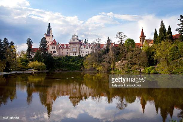 Pruhonice, Spring Landscape Panorama Picture of the castle with trees and lake