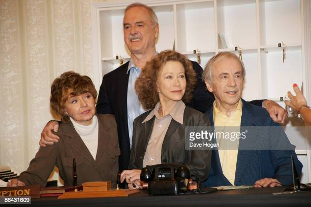 Prunella Scales John Cleese Connie Booth and Andrew Sachs attend a press conference to announce the release of two special episodes of Fawlty Towers...