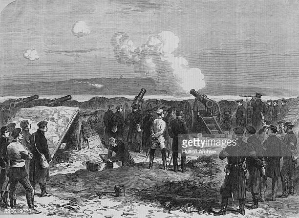 Prussian 24 pounder rifled artillery under the command of Kapitain Scheltzer bombards the Danish fortifications from aross Gaasberg Point at the...