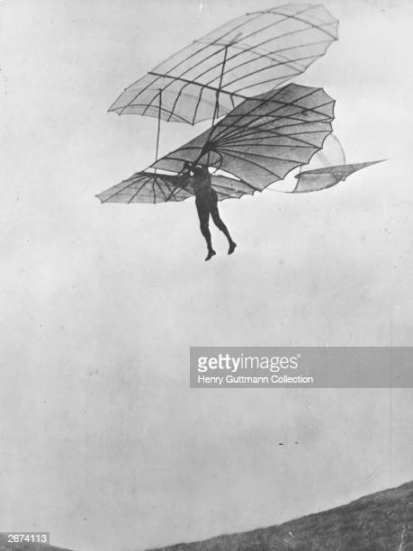 Canvas Aeronautical Engineer Otto Lilienthal in a Glider Art print POSTER