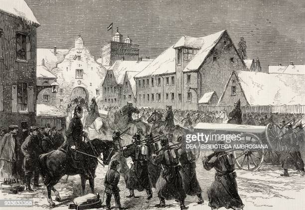 Prussian ammunitiontrain entering Flensburg Second Schleswig War illustration from the magazine The Illustrated London News volume XLIV February 27...