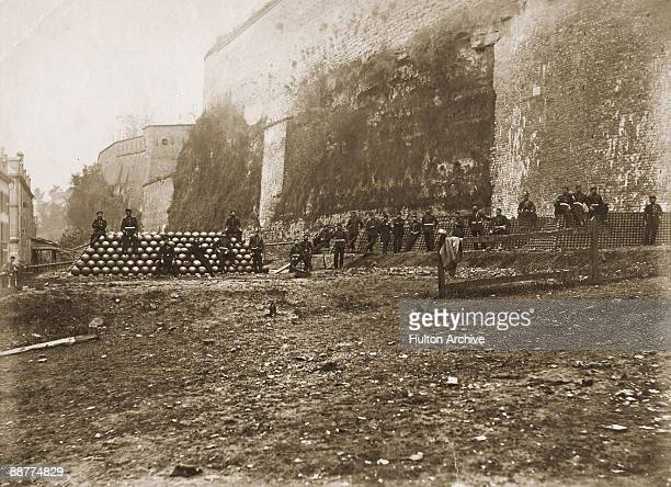 Prussian gunners with ammunition reserves outside the Chateau de Sedan France on the day of the capitulation of French Emperor Napoleon III and his...