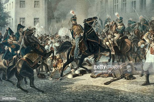 Prussian Kings and History Schill Ferdinand von *06011776 Prussian officer leader of the corps of volunteers Depiction of Schill's death in a street...