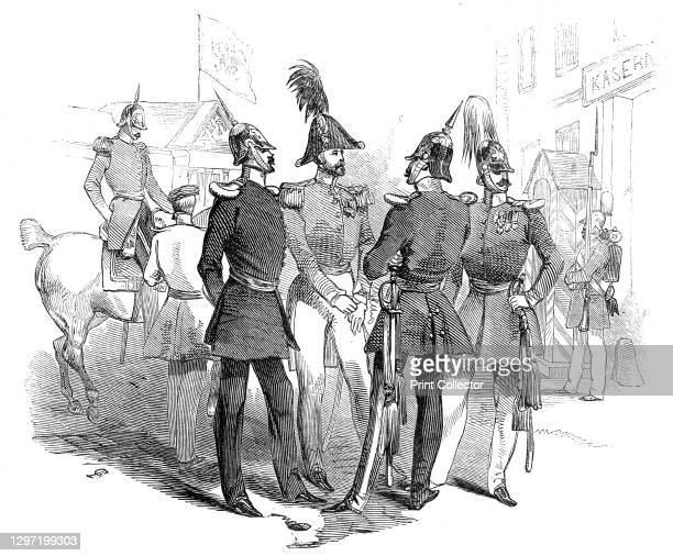 """Prussian officers - Place d'Armes, Cologne, 1845. Soldiers in uniform: '...a group of Prussian officers, their Kasern , &c'. From """"Illustrated London..."""